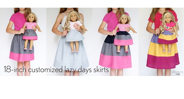 Tutorial: Lazy Days skirt variations for dolls and girls