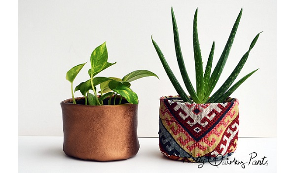 Tutorial: Fabric and faux leather plant pots