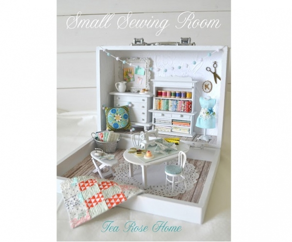 Take a tour of this miniature sewing room