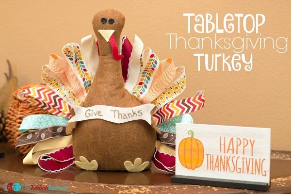 Tutorial: Felt and ribbon tabletop turkey