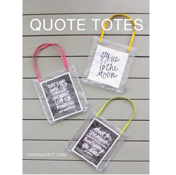 Tutorial: Clear vinyl quote totes