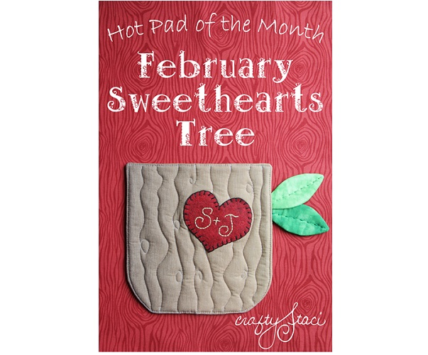 Free pattern: Sweethearts tree Valentines hot pad