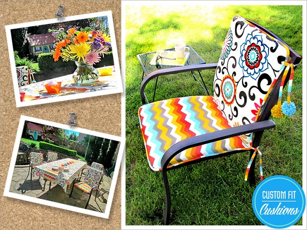 Tutorial: Patio chair cushions with pom poms