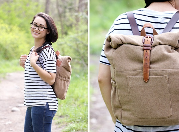 Tutorial: Roll up back pack from an old blazer