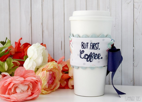 Free pattern: Embroidered coffee mug cozy