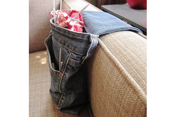 Tutorial: Recycled jeans armrest project bag