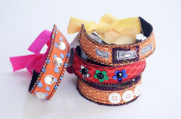 Tutorial: Quick and easy embellished scrap fabric bracelets