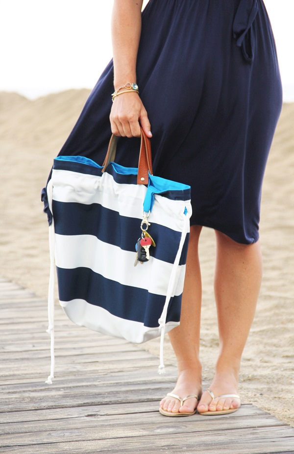 Tutorial: It's a Cinch leather handle tote bag