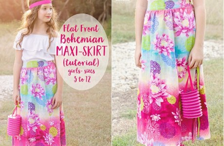 Tutorial: Flat front Bohemian maxi skirt for girls