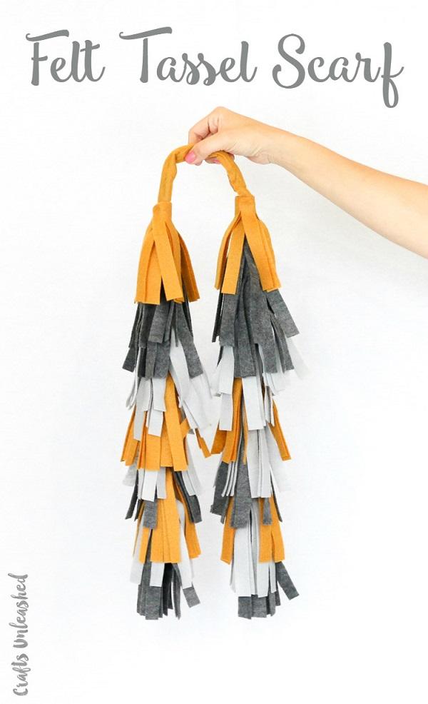 Tutorial: No-sew tiered felt tassel scarf