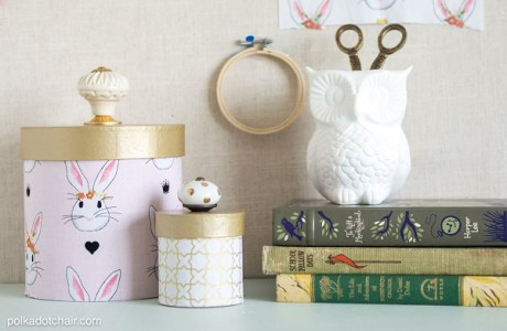 Tutorial: No-sew fabric covered containers