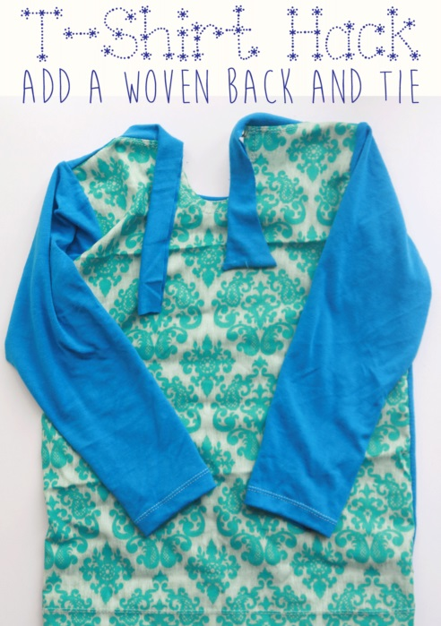 Tutorial t shirt with a woven back and tie sewing for How to make a tie back shirt