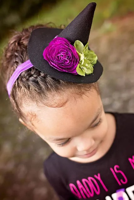 Free pattern: Mini witch hat for a headband or a doll