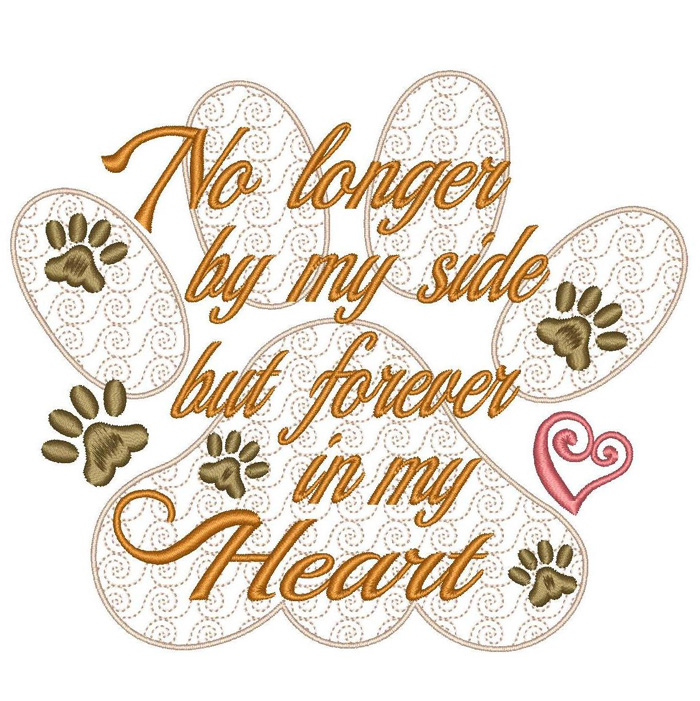 Pet Loss Sympathy Paw Print Machine Embroidery Design