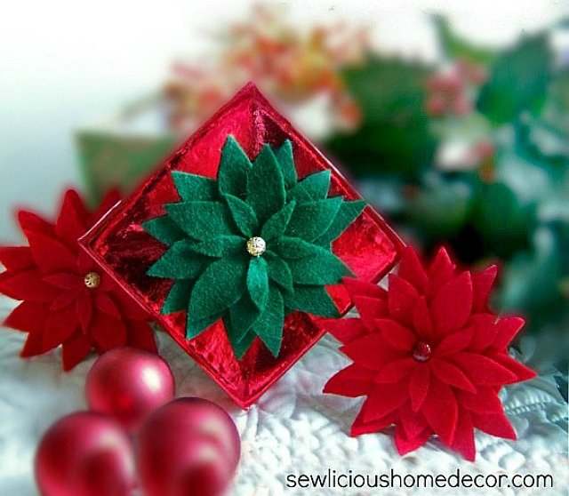 How To Make A Felt Poinsettia with Gift Tags