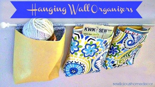 Hanging wall organizers sewing tutorial 500x280 How To Make A Hanging Wall Organizer {sewing tutorial}