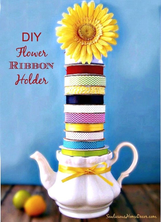 DIY Flower and Ribbon Holder at sewlicioushomedecor.com 1 DIY Flower and Teapot Ribbon Holder