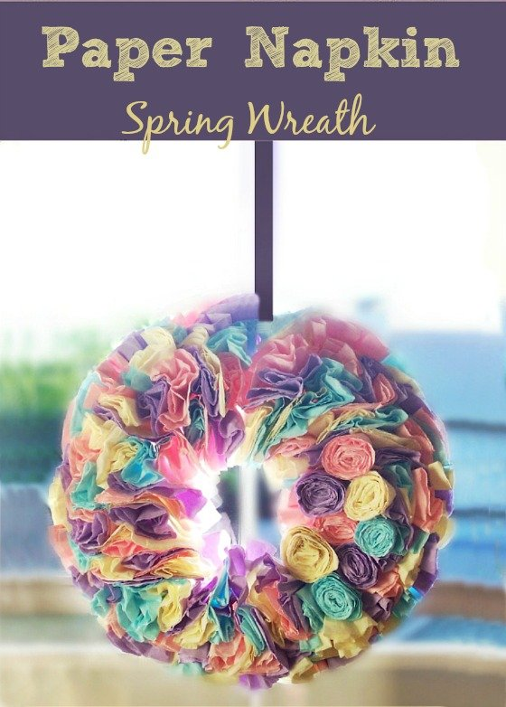 DIY Spring Easter Wreath made from Paper Napkins at sewlicioushomedecor DIY Spring Wreath Made From Napkins