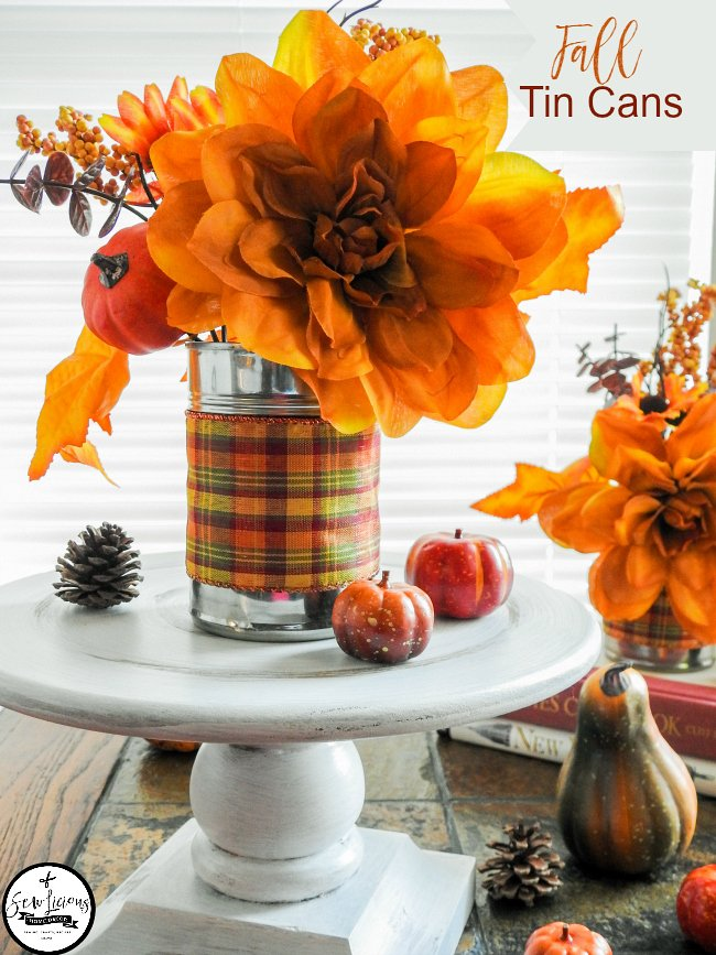 Fall Decorating with Recycled Tin Cans