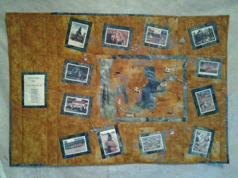 by Karen Moore - A photo/Map memory quilt (note the addition of the pins she collected along the way)