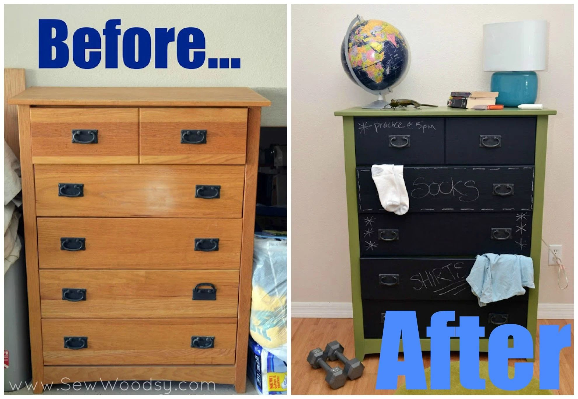 Painted furniture ideas before and after -  Before After Diy Chalkboard Painted Dresser Download