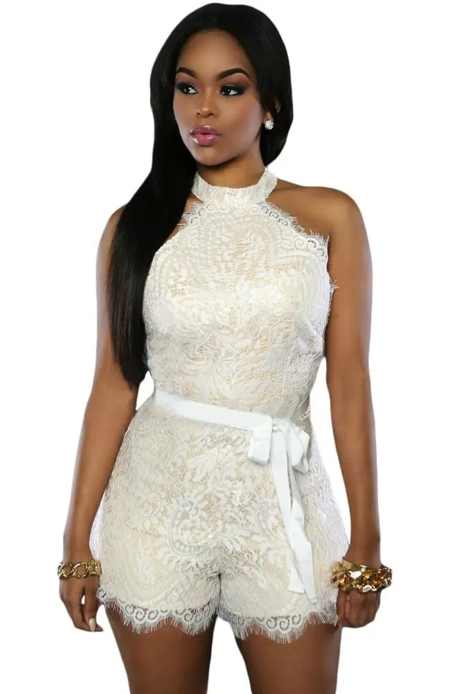 Lounge Garnitur Women Off Shoulder Sleeveless White Lace Romper - Online