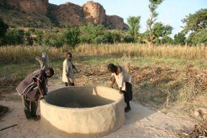 These men of Malis Dogon Country admire the 30-40-foot well they have dug by hand. The project was financed by Paths of Native Africa.
