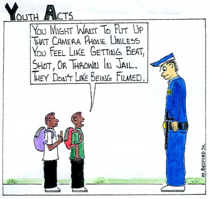 Marcus Bedford recording cops cartoon 0212, web