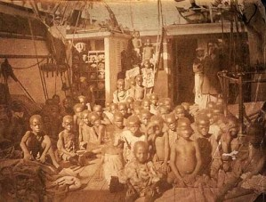 African children aboard slave ship 1896