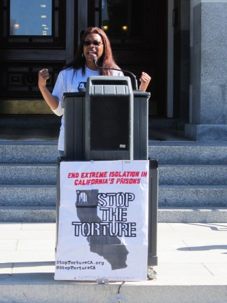 Assembly hearing on SHUs Daletha Hayden speaks at rally 022513 by Denise Mewbourne, web