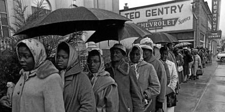 Blacks line up in rain to register to vote 1965 Alabama by AP