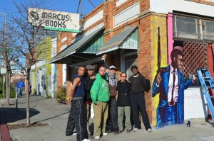 First day of Marcus Books mural project, web