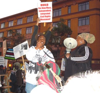 Rally to Save Hard Knock Radio Flashpoints and Full Circle at KPFA JR speaking 111110 by Lisa Dettmer, web