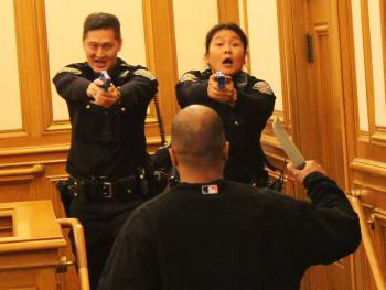 SFPD role play at Police Comn taser hearing 022311 by David Elliott Lewis