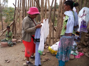 Ethiopia- buying scarves near churches Lalibela 0613 by Wanda