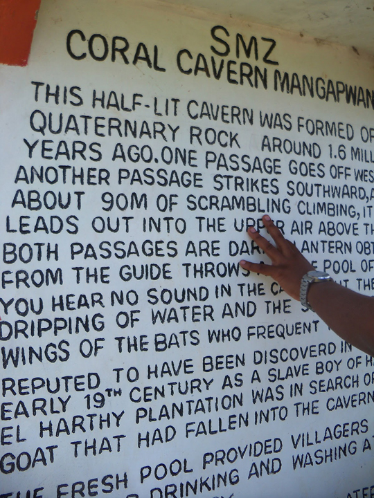 Mangapwani Slave Cave descriptive memorial plaque 0713 by Wanda