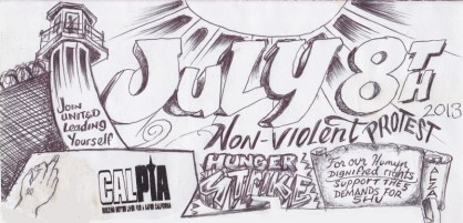 'July 8 Hunger Strike' drawing courtesy Under Lock and Key, web