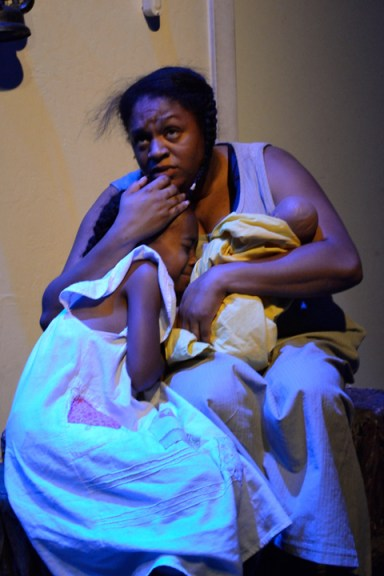 'Go Tell It!' Contrena Jones, Xion Abiodun (John's wife, child) left behind Christmas day 1213 by JR, web