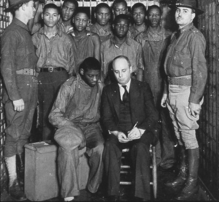 Scottsboro Boys jailed w their attorney Samuel Leibowitz, web