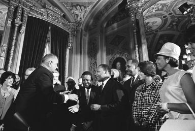 President Lyndon Johnson, Rev. Dr. Martin Luther King, Ralph Abernathy