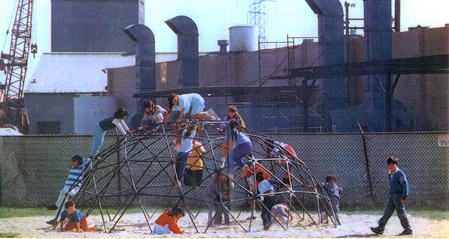 Chevron refinery, Richmond, children playing