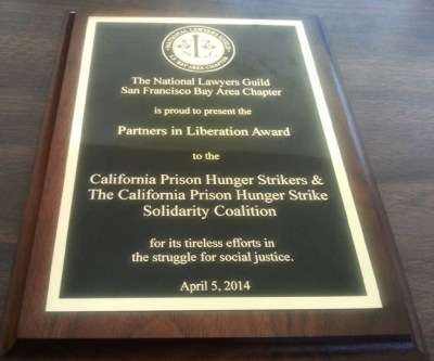 NLG award to Cali hunger strikers & PHSS 040514