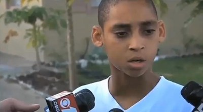 Keven Jean Baptiste, 13, speaks to the press. – Photo: WSVN