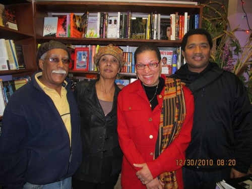 At another of the countless meetings to save Marcus Books are owners Gregory and Karen Johnson with renowned economist, educator and author Julianne Malveaux and activist and writer Carlos Levexier.