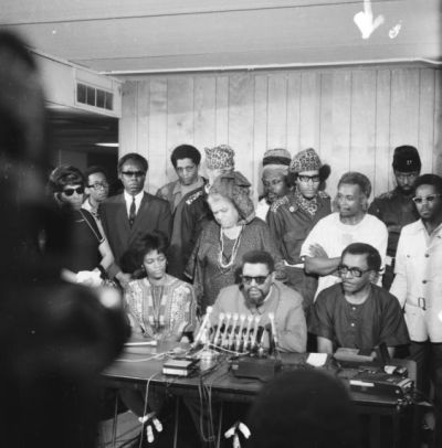 Robert and Mabel Williams hold a press conference in Detroit with the Republic of New Africa after returning to the U.S. in December 1969.