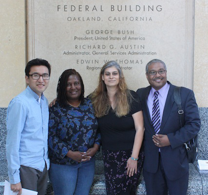 As director of Media Alliance, Tracy Rosenberg (third from left) organized a meeting of prison phone justice advocates with Congresswoman Barbara Lee on Aug. 23, 2012. From left are Owen Li, Sandra Johnson of the Ella Baker Center, Tracy and Mark Toney of TURN.