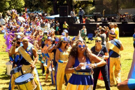 Nothing online can compete with a Memorial Day Parade: Samba Funk marches through Mosswood Park in Oakland … live! – Photo: Harrison Chastang