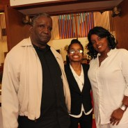 Stephanie Woodford with her parents at church – Photo: Lance Burton, Planet Fillmore Communications