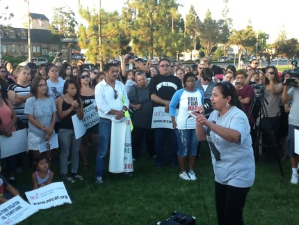 Dolores Canales, founder of California Families Against Solitary Confinement, speaks at a rally in Norwalk, California, on the day the third California mass prisoner hunger strike began, July 8, 2013, one year ago today. Prisoners' families see the hunger strikes and the torture that instigates them not only as political issues but as personal issues that could take the lives of their loved ones.