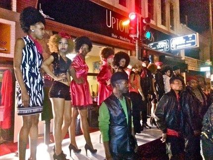 Oakland First Friday in February 2013 featured, right on the asphalt on Telegraph Avenue, this '70s fashion show, evoking the Black Panther era of Black pride, self-defense and self-determination. – Photo: Pamela Mays McDonald